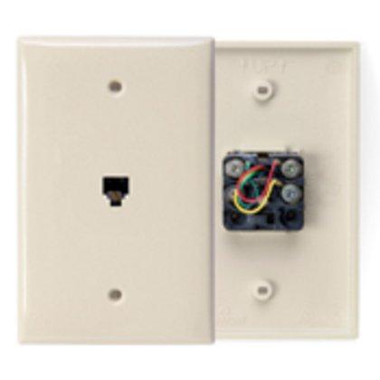 Midsize Wallplate, Telephone Jack, 1-Gang, Ivory