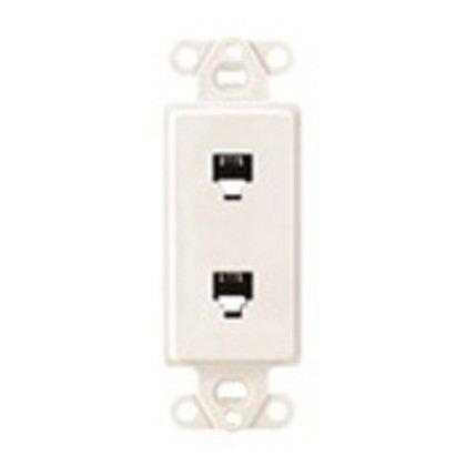 Wallplate Insert, Decora, Telephone/Video, 6P4c+6P4C, White