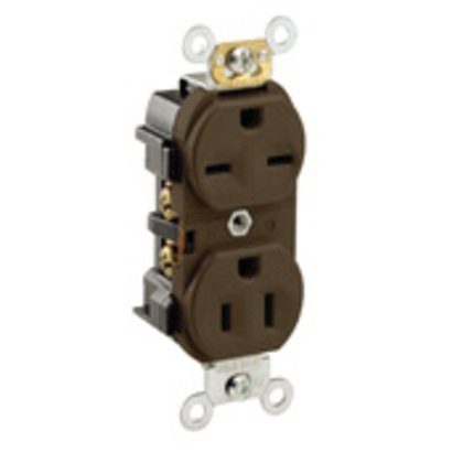 15 Amp, 125/250 Volt, NEMA 5-15R_6-15R, 2P, 3W, Industrial Series Heavy Duty Specification Grade, Duplex Receptacle, Straight Blade, Self Grounding, Dual Voltage, Side Wired, Steel Strap - BROWN