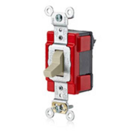 Modular Single-Pole Toggle Switch, 20A, 120/277VAC, Ivory, lev-lok