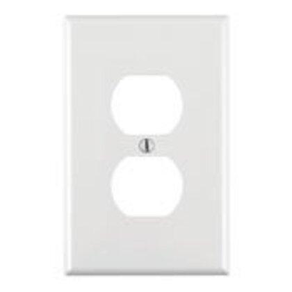 Duplex Receptacle Wallplate, 1-Gang, Nylon, White, Midway