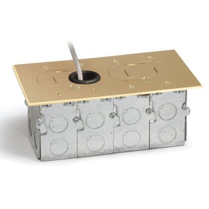BRASS TWO GANG RECESSED FLOOR BOX