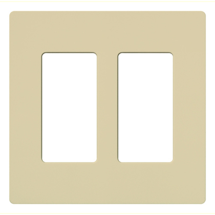 Dimmer/Fan Control Wallplate, 2-Gang, Ivory, Claro Series