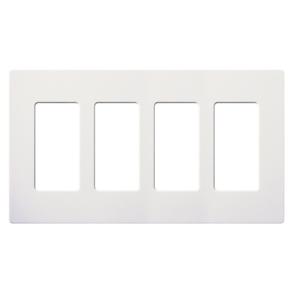 Dimmer/Fan Control Wallplate, 4-Gang, White, Claro Series