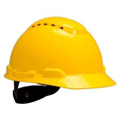 Hard Hat, Yellow, Vented, 4-Point Ratchet Suspension