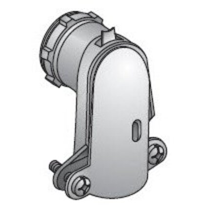 "AC/Flex Connector, 3/8"", 90°, 2-Screw Clamp, Zinc Die Cast"
