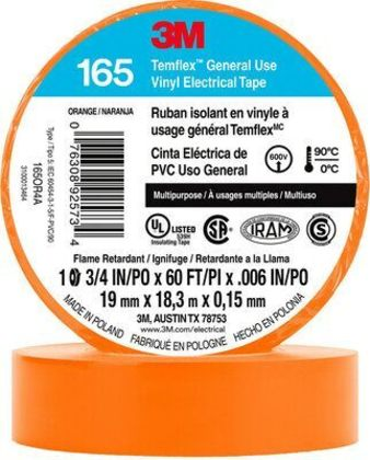 "General Use Vinyl Electrical Tape, Multi-Purpose, Orange, 3/4"" x 60'"