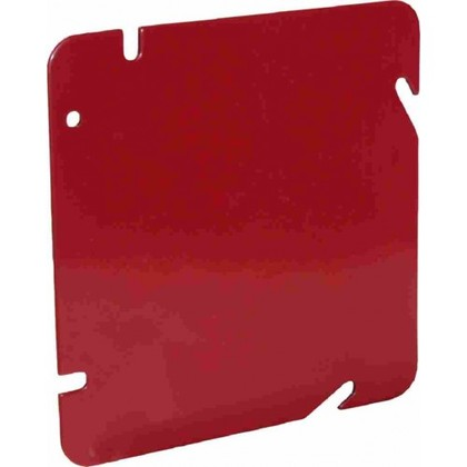 """4-11/16"""" Square Blank Fire Alarm Cover, Red, Steel"""