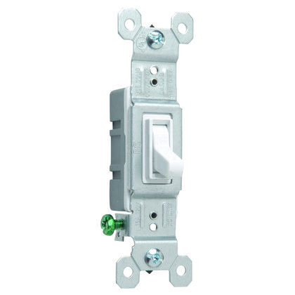 Toggle Switch, 1-Pole, 15A, 120VAC, White Grounding