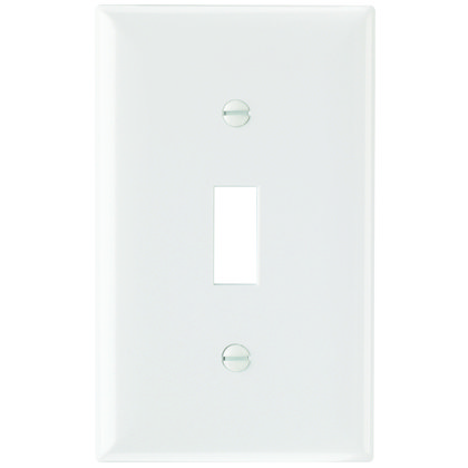 Toggle Switch Wallplate, 1-Gang, Thermoset, White