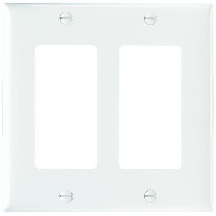 Wallplate, Decorator Openings, Plastic, Two Gang, White