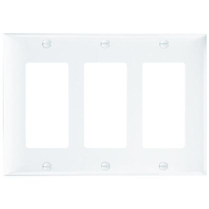 Wallplate, Decorator Openings, Plastic, Three Gang