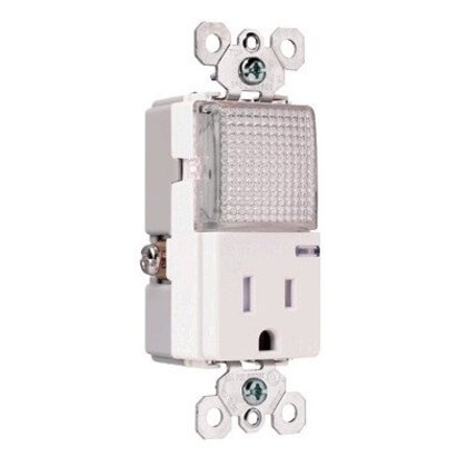 Hall Light / Receptacle Combo, 15A, White *** Discontinued ***