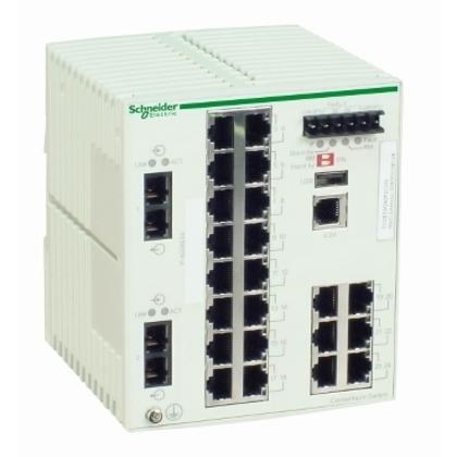 Ethernet Switch, Managed, TCP/IP , 22 Copper Ports, 2 Fiber Optic