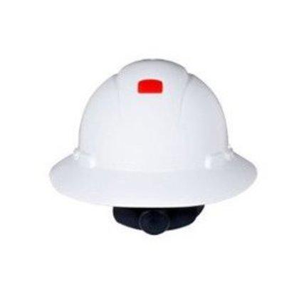 Full Brim Hard Hat, White, 4-Point Ratchet Suspension, Uvicator