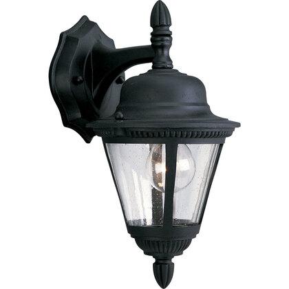 Wall Lantern, Outdoor, 1-Light, 60W, Textured Black