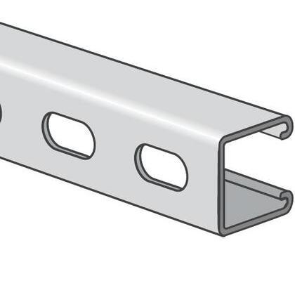 "Channel - Elongated Holes, Steel, Pre-Galvanized, 1-5/8"" x 1-5/8"" x 10'"