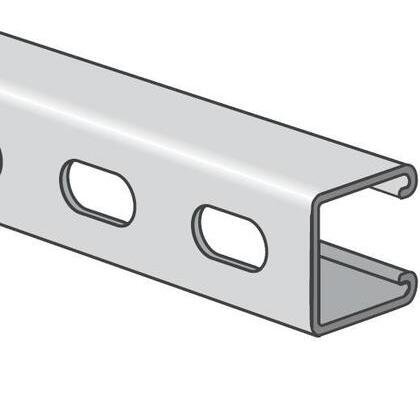 """Channel - Elongated Holes, 1-5/8"""" Deep, 1-5/8"""" Wide, Stainless Steel, 10' Length"""