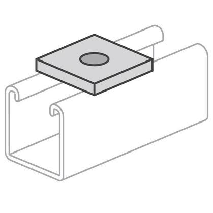 "Square Washer, Flat, 3/8"", Steel/Electro-Galvanized"