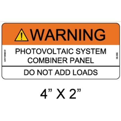 "PV Solar Warning Label, ANSI Compliance,4"" x 2"""