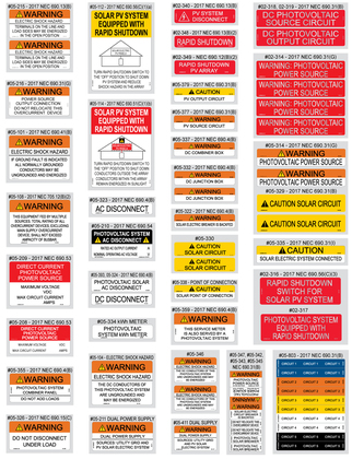 Solar Warning Labels Value Pack, 55 Pieces (NEC2017)
