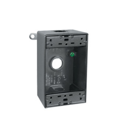 """Weatherproof Outlet Box, 1-Gang, 2"""" Deep, (4) 1/2"""" Hubs, Die Cast, Limited Quantities Available"""