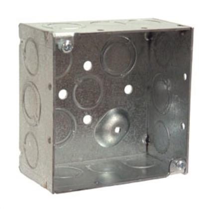 "4"" Square Box, Welded, Metallic, 2-1/8"" Deep"