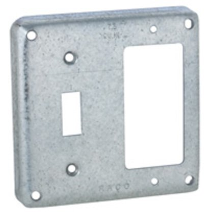 """4"""" Square Exposed Work Cover, (1) GFCI and (1) Toggle"""