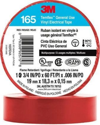"General Use Vinyl Electrical Tape, Multi-Purpose, Red, 3/4"" x 60'"