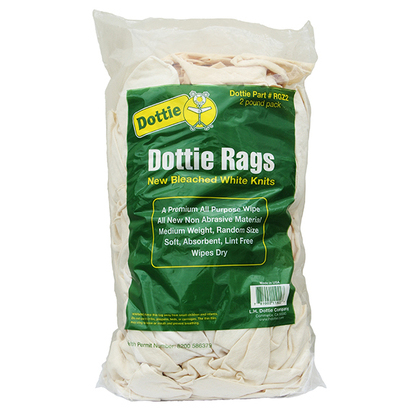 White Knit Rags, Medium Weight - 2lb Bag