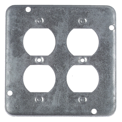 "4-11/16"" Square Exposed Work Cover, (2) Duplex Receptacle"