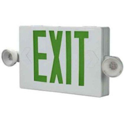 Emergency Combo Exit/Light, LED, White, Green Letters