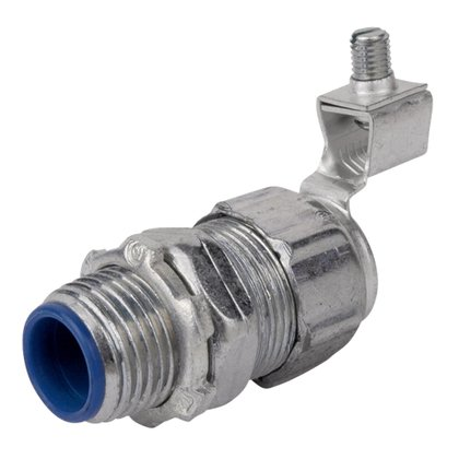 """Liquidtight Connector, Straight, 1"""", Grounding, Malleable, Insulated"""