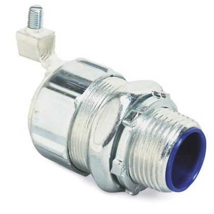 """Liquidtight Connector, Straight, 2"""", Grounding, Malleable, Insulated"""