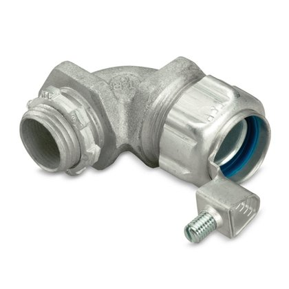 """1/2"""" 90° Insulated Liquidtight Connector, Malleable, Grounding Lug"""
