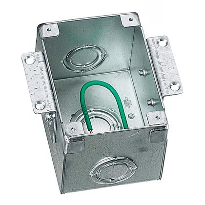 "Rectangular Floor Box, Semi-Adjustable, 1-Gang, Depth: 3.13"", Steel"