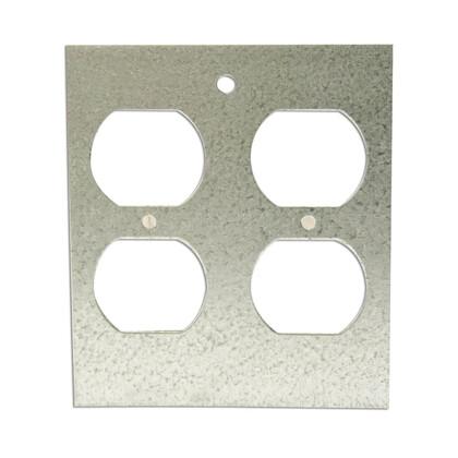 Panel Device Plate, 2-Gang, Device Type: Duplex Receptacle,Metallic