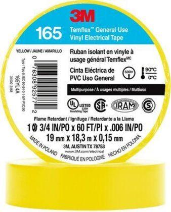 "General Use Vinyl Electrical Tape, Multi-Purpose, Yellow, 3/4"" x 60'"